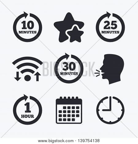 Every 10, 25, 30 minutes and 1 hour icons. Full rotation arrow symbols. Iterative process signs. Wifi internet, favorite stars, calendar and clock. Talking head. Vector