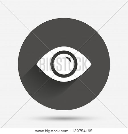 Eye sign icon. Publish content button. Visibility. Circle flat button with shadow. Vector