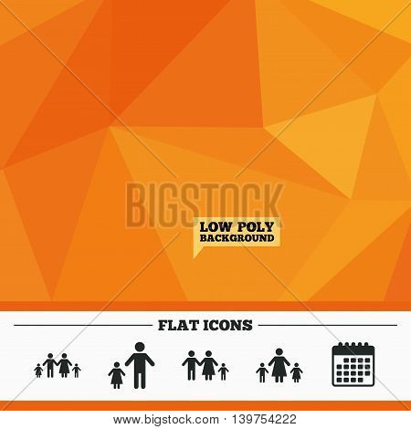 Triangular low poly orange background. Family with two children icon. Parents and kids symbols. One-parent family signs. Mother and father divorce. Calendar flat icon. Vector