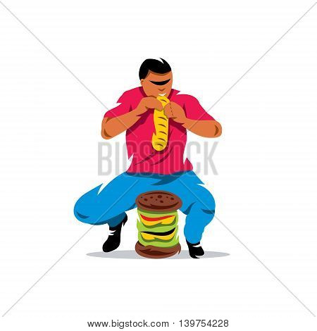 Man eats very quickly. Isolated on white background.