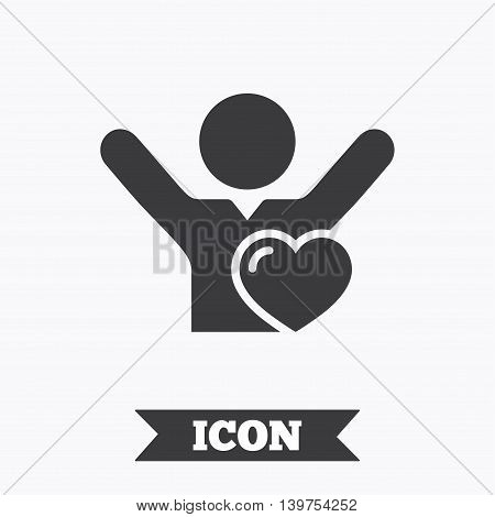 Fans love icon. Man raised hands up sign. Graphic design element. Flat like symbol on white background. Vector