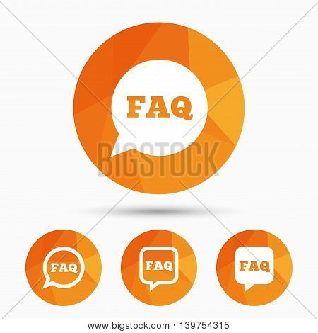 FAQ information icons. Help speech bubbles symbols. Circle and square talk signs. Triangular low poly buttons with shadow. Vector