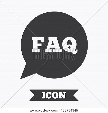 FAQ information sign icon. Help speech bubble symbol. Graphic design element. Flat faq symbol on white background. Vector