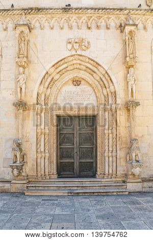 SIBENIK, CROATIA - June 4, 2016 The Lion Gate entrance of the cathedral of St. James the most important architectural monument of the Renaissance in the entire country.