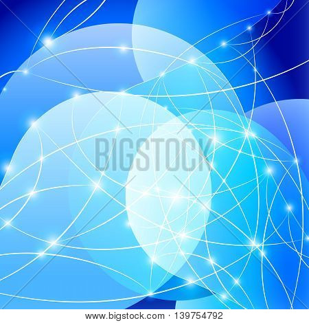 Blue Internet background with shiny network dots concept