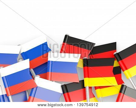 Flags Of Russia And Germany  Isolated On White