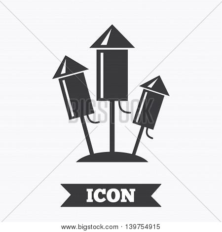 Fireworks rockets sign icon. Explosive pyrotechnic device symbol. Graphic design element. Flat fireworks symbol on white background. Vector