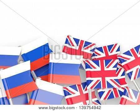 Flags Of Russia And Uk  Isolated On White
