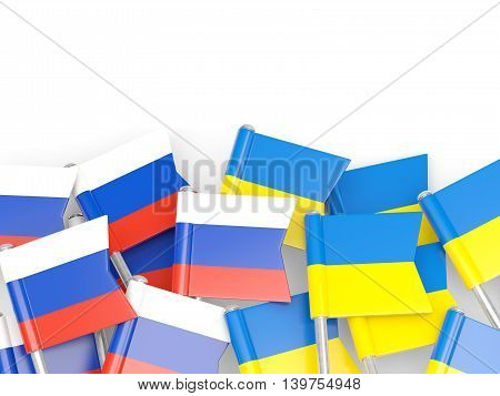 Flags Of Russia And Ukraine  Isolated On White