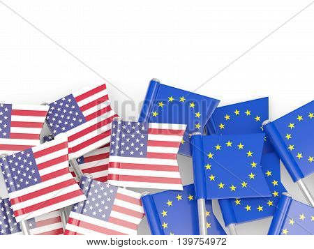 Flags Of Usa And Eu Isolated On White
