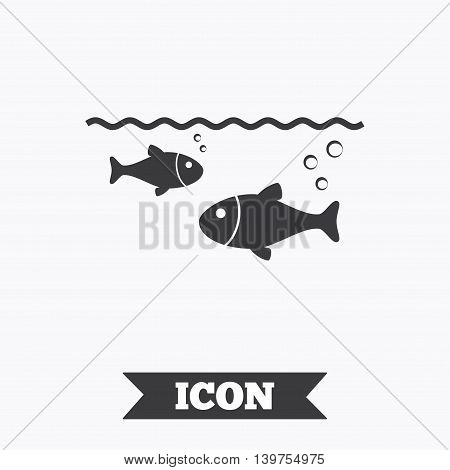 Fish in water sign icon. Fishing symbol. Graphic design element. Flat fishing symbol on white background. Vector