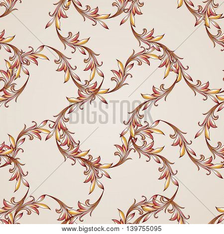 Seamless floral pattern with sprigs weaving. Illustration in brown golden red and pink shades on light background