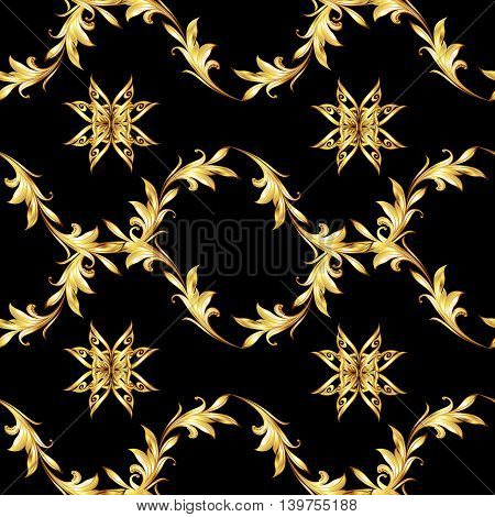 Seamless pattern with gold floral elements on black background