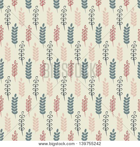 Herbs, Seamless floral pattern with branches, nature illustration