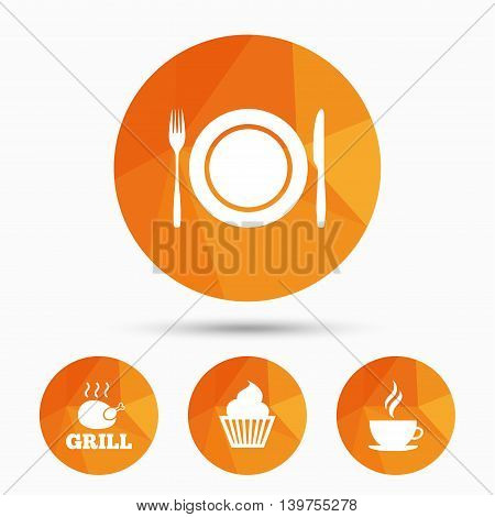 Food and drink icons. Muffin cupcake symbol. Plate dish with fork and knife sign. Hot coffee cup. Triangular low poly buttons with shadow. Vector