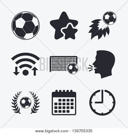 Football icons. Soccer ball sport sign. Goalkeeper gate symbol. Winner award laurel wreath. Goalscorer fireball. Wifi internet, favorite stars, calendar and clock. Talking head. Vector