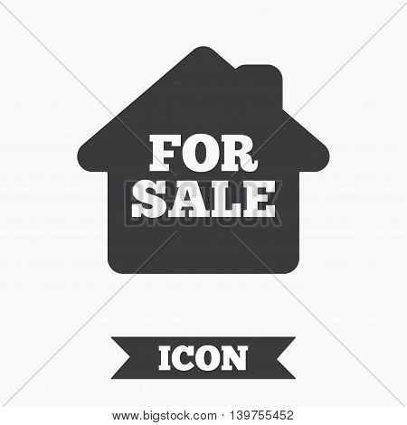For sale sign icon. Real estate selling. Graphic design element. Flat for sale symbol on white background. Vector