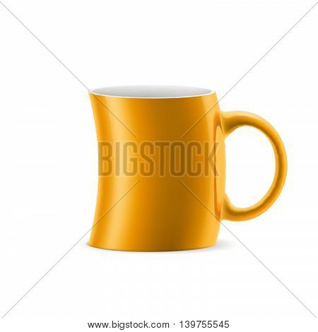 Orange curve cup of something stay on white background