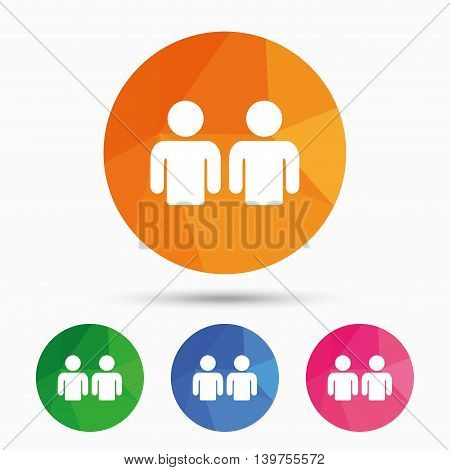 Friends sign icon. Social media symbol. Triangular low poly button with flat icon. Vector
