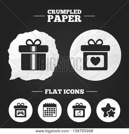 Crumpled paper speech bubble. Gift box sign icons. Present with bow and ribbons symbols. Engagement ring sign. Video game joystick. Paper button. Vector