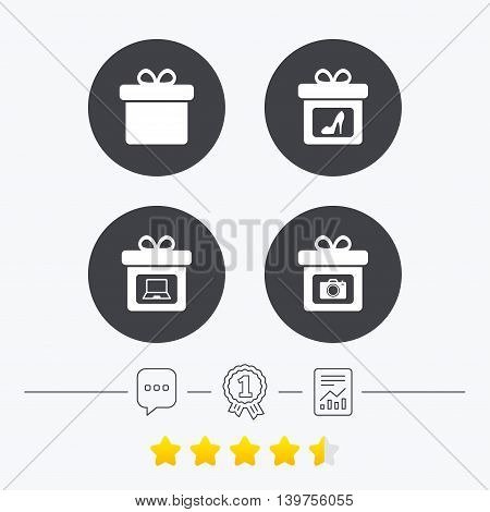 Gift box sign icons. Present with bow symbols. Photo camera sign. Woman shoes. Chat, award medal and report linear icons. Star vote ranking. Vector