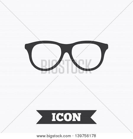 Retro glasses sign icon. Eyeglass frame symbol. Graphic design element. Flat glasses symbol on white background. Vector