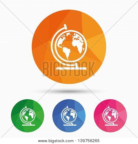 Globe sign icon. World map geography symbol. Globe on stand for studying. Triangular low poly button with flat icon. Vector