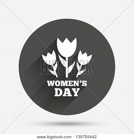 8 March Women's Day sign icon. Flowers symbol. Circle flat button with shadow. Vector