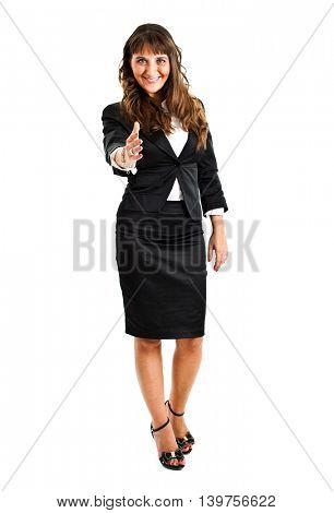Beautiful young businesswoman lending a handshake