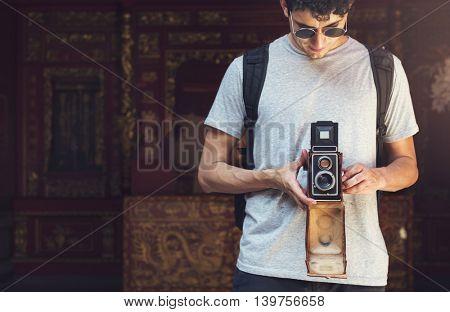 Photographer Traveler Capture Portrait Concept