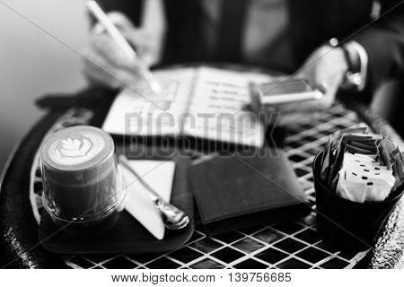 Businessman Working Plan Coffee Break Concept