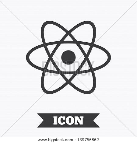 Atom sign icon. Atom part symbol. Graphic design element. Flat atom symbol on white background. Vector