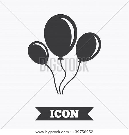 Balloon sign icon. Birthday air balloon with rope or ribbon symbol. Graphic design element. Flat balloon symbol on white background. Vector