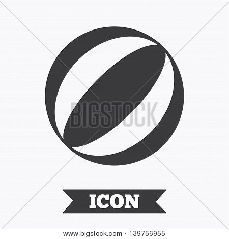 Beach ball sign icon. Water ball. Graphic design element. Flat beach ball symbol on white background. Vector