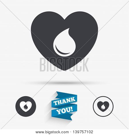Blood donation sign icon. Medical donation. Heart with blood drop. Flat icons. Buttons with icons. Thank you ribbon. Vector