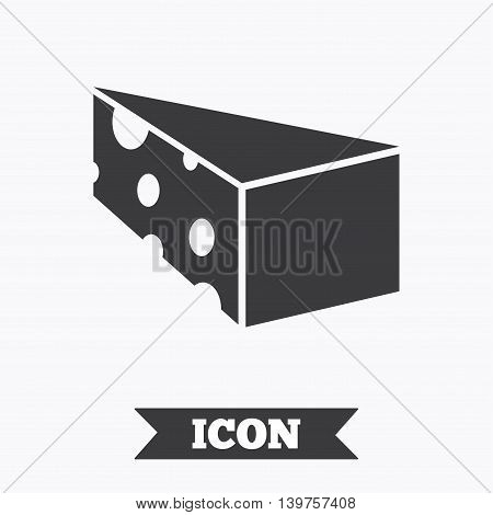 Cheese sign icon. Slice of cheese symbol. Triangle cheese with holes. Graphic design element. Flat cheese symbol on white background. Vector