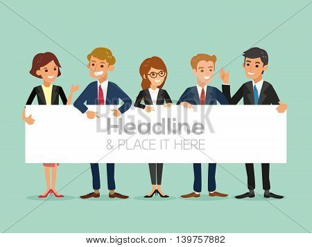 happy business team with a banner isolated vector cartoon illustration