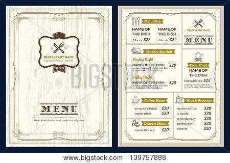 Restaurant or cafe menu vector design template with vintage retro art deco frame style on wood texture background