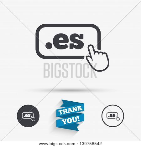 Domain ES sign icon. Top-level internet domain symbol with hand pointer. Flat icons. Buttons with icons. Thank you ribbon. Vector