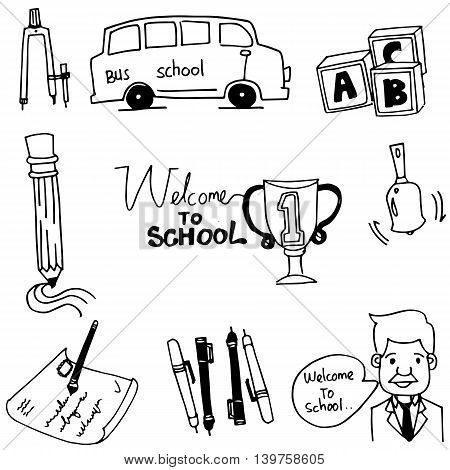Doodle of school object bus pen teacher vector art
