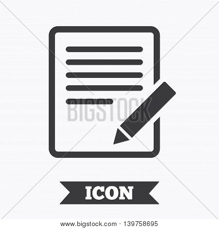 Edit document sign icon. Edit content button. Graphic design element. Flat edit symbol on white background. Vector