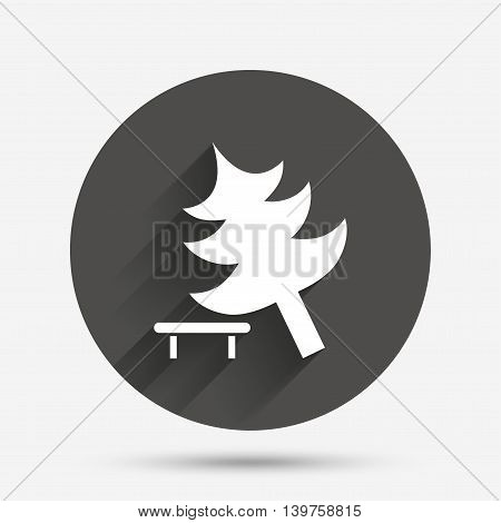Falling tree sign icon. Caution break down christmas tree symbol. Circle flat button with shadow. Vector