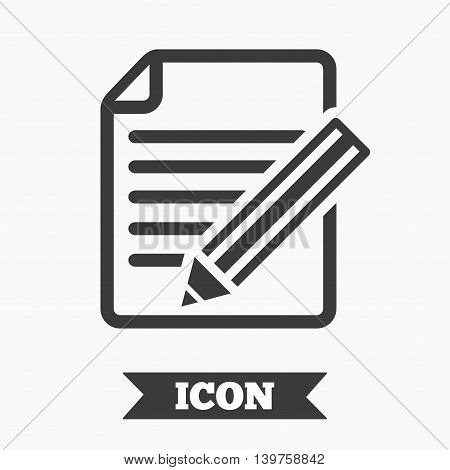 Edit document sign icon. Edit content button. Graphic design element. Flat edit document symbol on white background. Vector