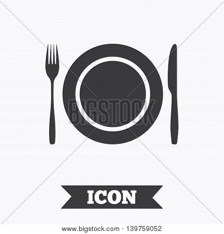 Plate dish with fork and knife. Eat sign icon. Cutlery etiquette rules symbol. Graphic design element. Flat cutlery symbol on white background. Vector