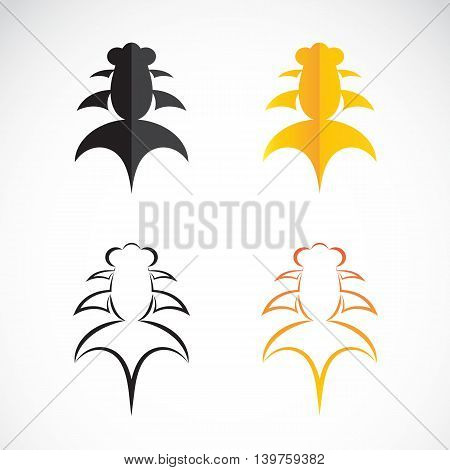 Vector image of an goldfish and black goldfish on white background.