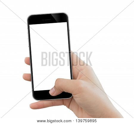 closeup hand use phone mobile isolated on white background