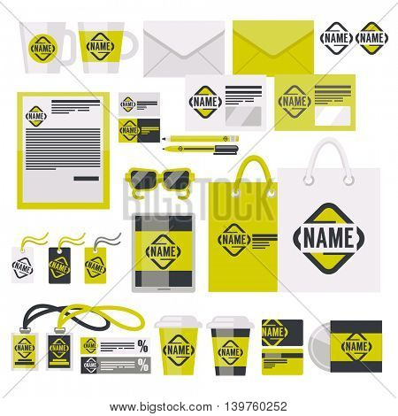 Corporate identity template design set. Flat style. Business stationery. Vector Illustration.