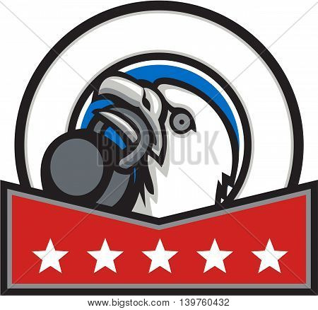 Illustration of an american bald eagle head looking up to the side lifting kettleball with beak set inside circle with stars done in retro style.
