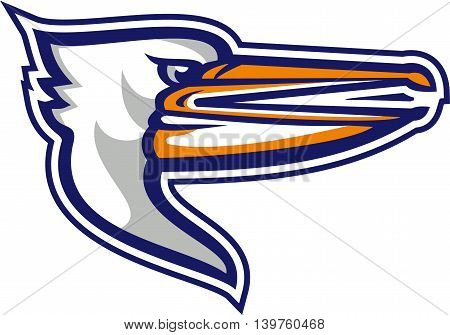 Illustration of a head of an angry pelican viewed from the side set on isolated white background done in retro style.