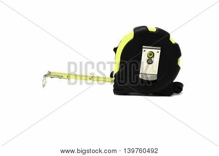 tape measure isolated on white background construction, yellow, measurement,